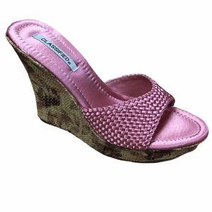 CLASSIFIED Strawberry Satin Open Toe Sandal w Heel